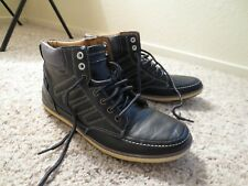 Sketchers Leather Navy Blue High Top Sneakers Men's Shoes 9