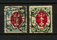 (YYAS 317) Danzig 1921 USED TYPE blue and green Mich 80 Gdansk Poland Germany