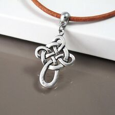 """Silver Celtic Knot Pendant 18"""" 19"""" Brown Leather Cord Surfer Cross Necklace NEW"""