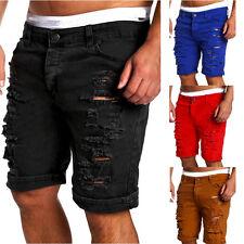 Men's Skinny Runway Straight Short Denim Pants Destroyed Ripped Jeans Shorts US