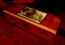 Vintage Wood Cedar Jewelry Box With Antique Buttons