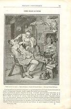 Femme Rasant au Coupe-Choux un Paysan de Cornelis Dusart GRAVURE OLD PRINT 1894