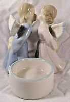 Blue Pink Girl and Boy Kissing Angels Tealight holder Porcelain Figurine
