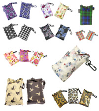 Reusable Foldable Shopping Bag Eco Tote Handbag Tartan Floral in Pouch with Clip