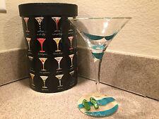 "Lolita ""bikini"" martini glass 10oz hand-painted swimsuit flip flops nib"
