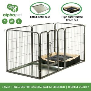 ALPHAPET® 6 Panel Dog Puppy Whelping Cage Playpen Fence inc Base & Fleece Bed
