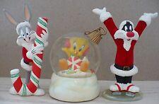"Bugs Bunny, Sylvester & Tweety ""Joy"" Figurines And Snowglobe Warner Brothers"