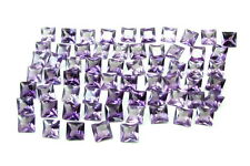 Fine Quality 82Ct 65pc Lot Purple Cubic Zirconia Square Faceted Gemstones