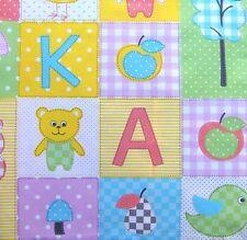 0,5m  Kinder Stoff Patschwork Motiv 100% Baumwolle Buchstaben Vogel