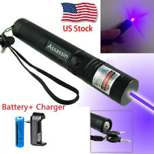 600Miles 405nm Blue Purple Laser Pointer Pen 18650 Rechargeable Lazer + Charger