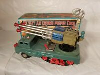 Tin Toy 1950 battery op. MILITARY AIR DIFENDE POM POM TRUCK Japan top repro box.