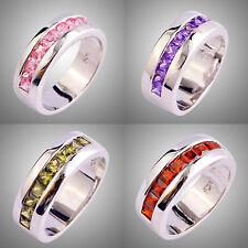 Likable Amethyst & Garnet & Peridot & Pink Topaz Gems Silver Ring Size L N P R T