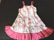 Sz 5 Deux Par Deux Dress Pink Brown Sundress Embroidery Netting Flowers