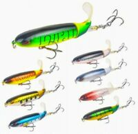 Largemouth bass pike Soft rotating tail top water fishing lures 8-pack lot
