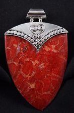 Sponge Coral Pendant Sterling Silver .925  Elegant Red