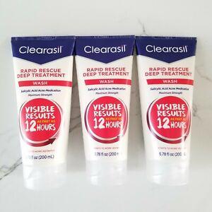 3x Clearasil Rapid Rescue Deep Acne Treatment Face Wash 6.78oz SEALED EXP 6/2022
