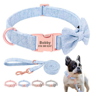 Soft Nylon Dog Collar and Leash Set Personalized Name ID with Removeable Bow Tie
