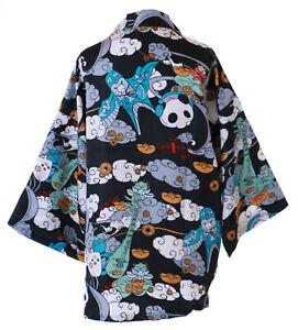 KJ-15 Schwarz Weiß Panda Bär Wolken Haori Über-Jacke Geisha Kimono