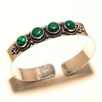 Stylish Silver Plated Malachite Cuff Bracelet Bangel Gemstone Jewelry