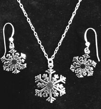.925 Sterling Silver Snowflake Jewelry Necklace Earrings Womens Holiday Gift Set
