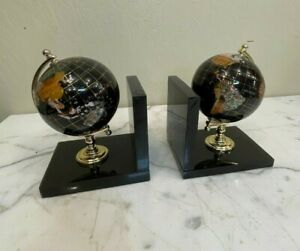 Stone Inlaid Globe Bookends with 24k Gold Accents