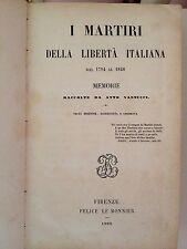 """LIBRO ANTICO MEZZA PELLE CON TITOLI E FREGI IN ORO """"I MARTIRI """" 1860"""