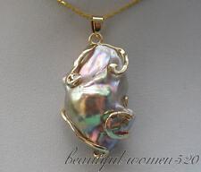 z4460 Huge 19mmx31mm baroque Multicolor keshi reborn pearl chain pendant