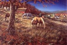 Hillside Gathering Horse Farm Print By Jim Hansel  12 x 7.75