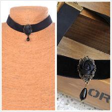 Gothic Retro Vintage Black Velvet Rose Charm Pendant Choker Necklace Jewelry WC