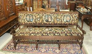 French Antique Upholstered & Needle Work Carved Oak Louis XIII Sofa - c.1880s