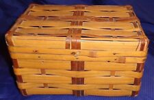 RP1457 Vtg Weaved Bamboo Sewing Basket Box