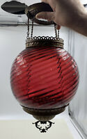 Antique CRANBERRY SWIRL Hanging Parlor Oil Lamp Ceiling Fixture