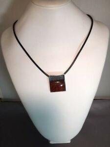 Ambermoda Sterling Silver and Baltic Amber Modern Necklace on Leather Cord