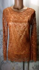 Apart Impressions Lace Shirt~Top~Long Sleeve~Bronze~Size 4