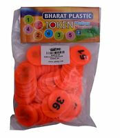 Orange Plastic Token/Coins with Numeric Numbers 1 to 100, Pack of 100 Coins