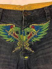 COOGI Jeans Mens Hip Hop 38 X 34 Baggy Loose Urban Eagle Pheonix Sword Colorful