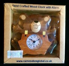 NEW Wooden Fair Trade Alarm Clock.Hand crafted Chunky wood Kids.Animal.Mouse.