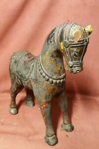 Antique Asian Indian Poly chromed Horse Wood Carving Sculpture