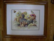 By Marjolein Basdin Bowl of Cherries fruit & sunflower Butterflies & Bird