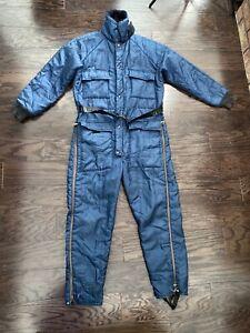 Vintage Walls Blizzard Pruf Snow Snowmobile Ski Suit Blue Belted Mens Sz Medium