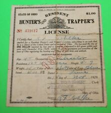 Antique Rare 1929 Resident Ohio Hunting and Trappers License - Cloth Back -  #5