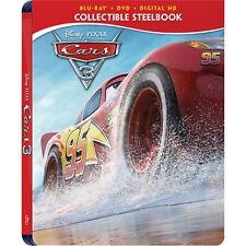 Cars 3 [Blu-ray + DVD + Digital HD Best Buy Steelbook Region A, McQueen] NEW