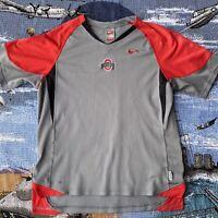 Men's Large Grey Nike Fit Dry Ohio State Buckeyes Short Sleeve T-Shirt