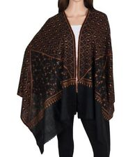 Pure Cashmere Black Pashmina Orange Embroidery overall Luxury Royal Queen Soft