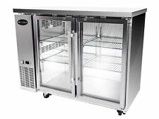 "Saba 72"" Ss Back Bar Beer Cooler Refrigerator, 2 Glass Doors 24"" Depth"