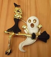Halloween Witch & Ghost on Broom Vintage Brooch Pin Gold Plate, Signed AJC, NEW