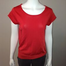 Ann Taylor Blouse Size L Large Womens Shirt Red Stretch Tee Boat Neck