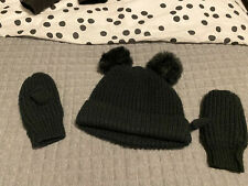 Next Girls Black Hat And Mittens Age 5-6 Years