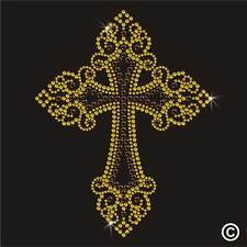 Gothic Cross Rhinestone Diamante Transfer Iron On Hotfix Gem T Shirt Motif Patch