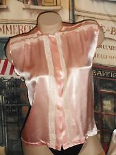 USA Small Vintage Silk Satin Pajama Top Pink Ecru Lace 3 Pearl Shank Buttons